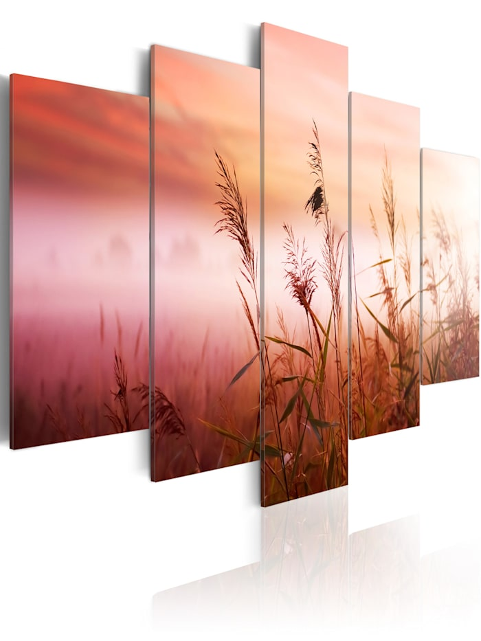 artgeist Wandbild Wiese im Morgengrauen, white,orange,green,pink