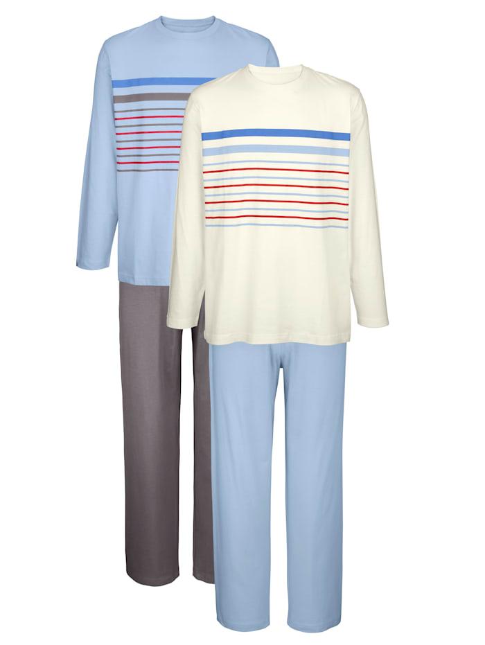 Roger Kent Pyjamas, Ljusblå/Benvit