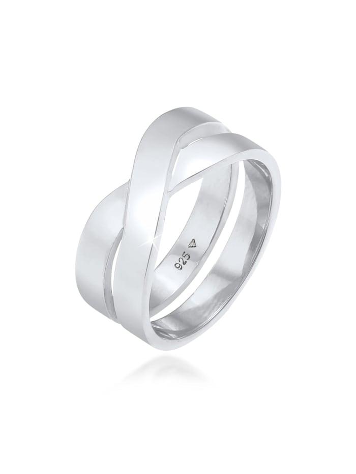 Kuzzoi Ring Herren Bandring Überkreuz Look 925 Silber, Silber