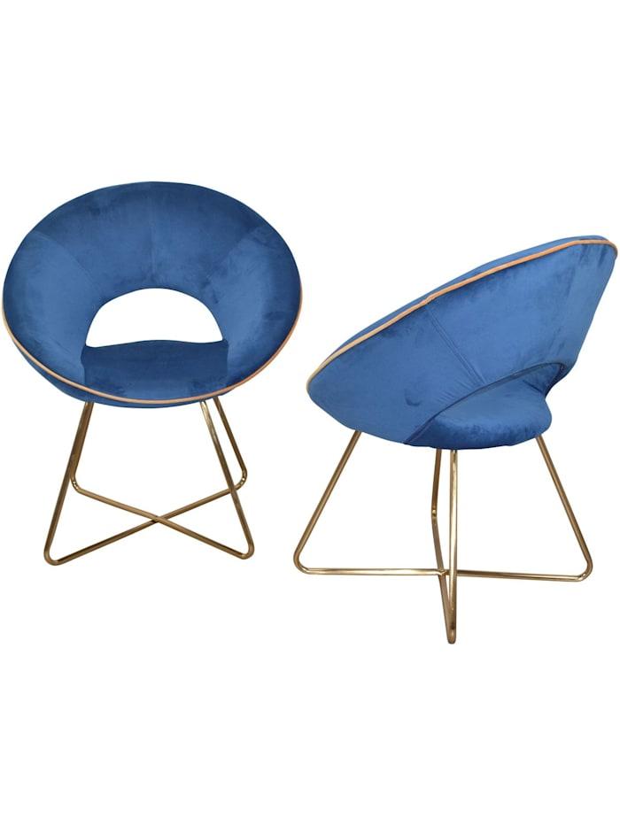 Möbel-Direkt-Online Samt-Polsterstuhl (2Stück) Nora, blau