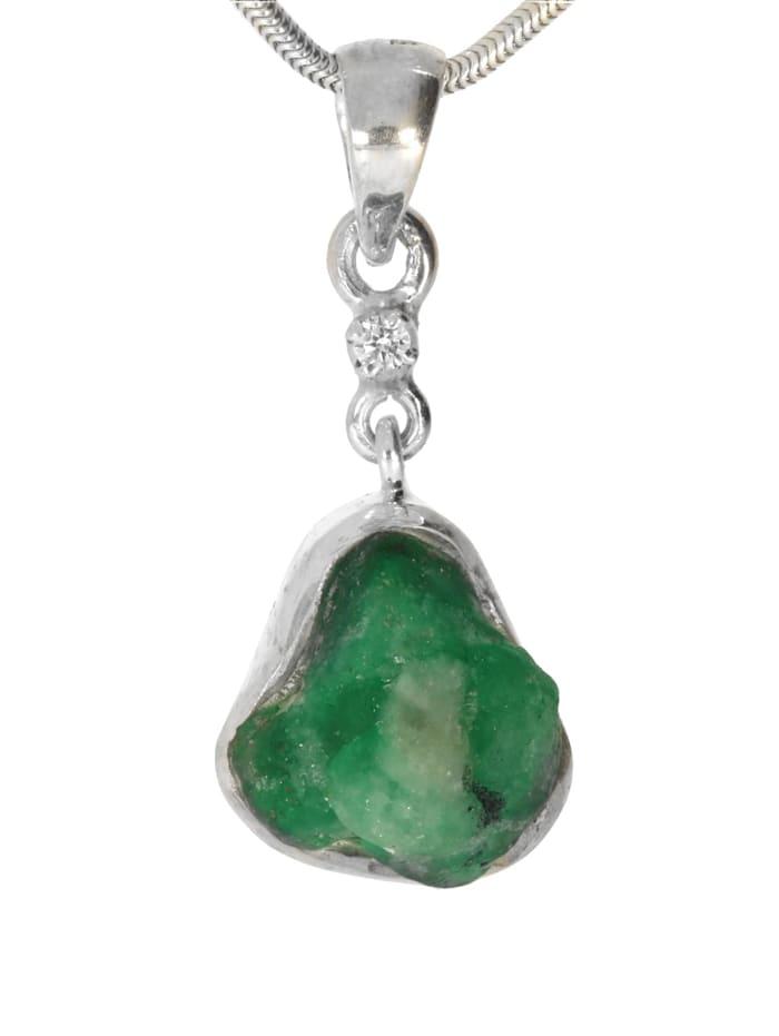 1001 Diamonds Damen Schmuck Edelstein Diamant Anhänger 925 Silber grün, grün