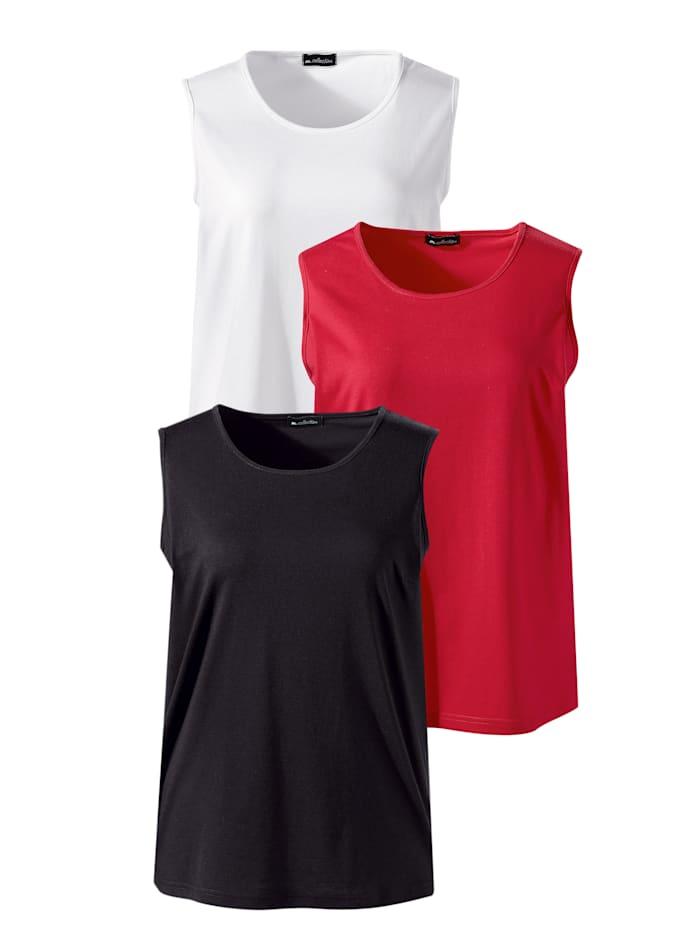 m. collection Lot de 3 débardeurs de coupe basique, Rouge/Noir/Blanc