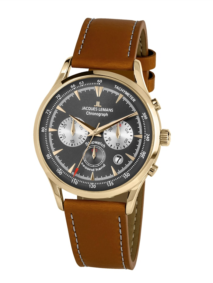 Jacques Lemans Herren-Uhr Chronograph Serie: Retro Classic, Kollektion: Retro Classic: 1- 2068J, Hellbraun