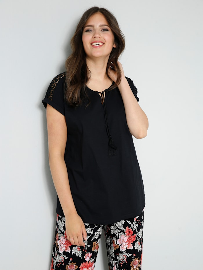 Janet & Joyce Shirt met modieus bindbandje, Zwart