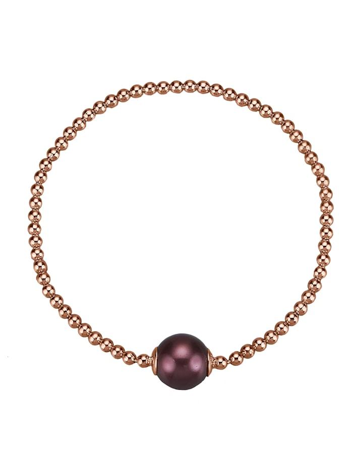 Celesta Armband 925/- Sterling Silber Muschelkernperle bordeaux 18cm Glänzend, rot