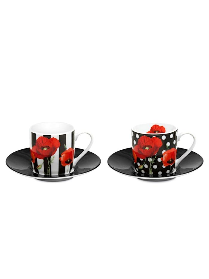 Könitz 4tlg. Espresso-Set 'Madame Petit-Dots & Stripes', Multicolor