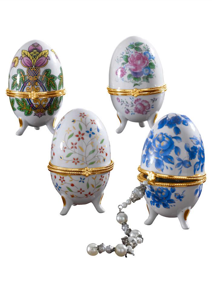 4er Porzellaneier Fabergé-Stil, Bunt
