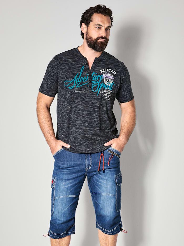 Men Plus Henleyshirt aus reiner Baumwolle, Marineblau/Weiß