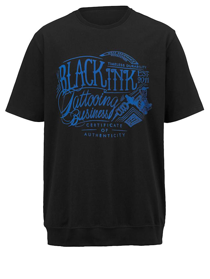 Men Plus T-Shirt Spezialschnitt, Schwarz/Royalblau