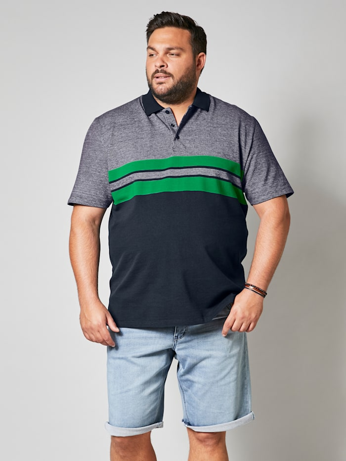 Men Plus Poloshirt aus reiner Baumwolle, Marineblau/Grün