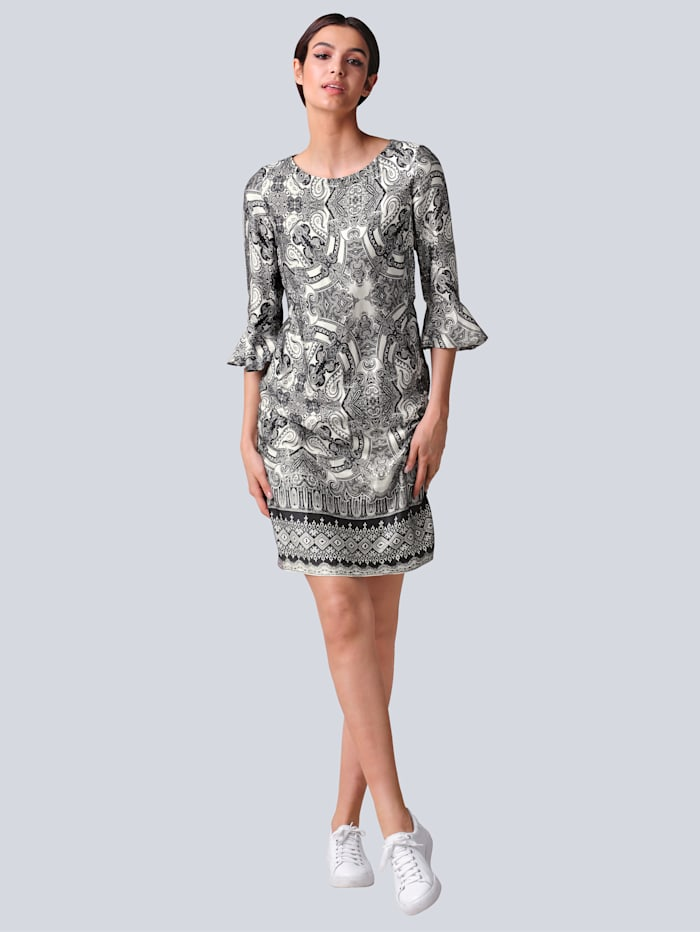 Alba Moda Kleid mit Paisleymuster, Schwarz/Off-white