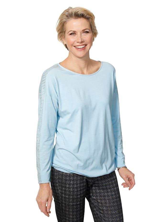 MONA Shirt met fonkelende strassteentjes, Lichtblauw