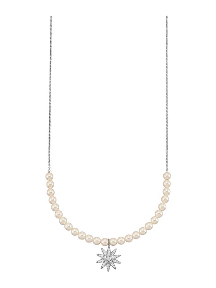 Atelier Imperial Sisi Halsband med Swarovskipärlor, Silverfärgad