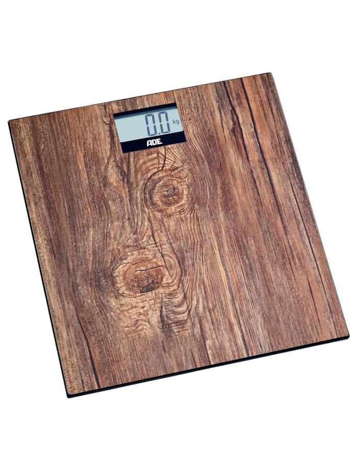 ADE Personenweegschaal in houtlook, bruin