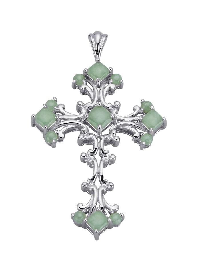 Kreuz-Anhänger mit Jade, Grün