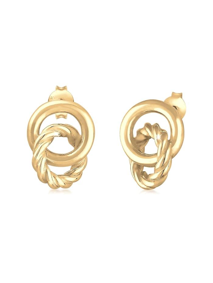 Elli Ohrringe Stecker Knoten Kreis Gedreht 80S Look 925 Silber, Gold