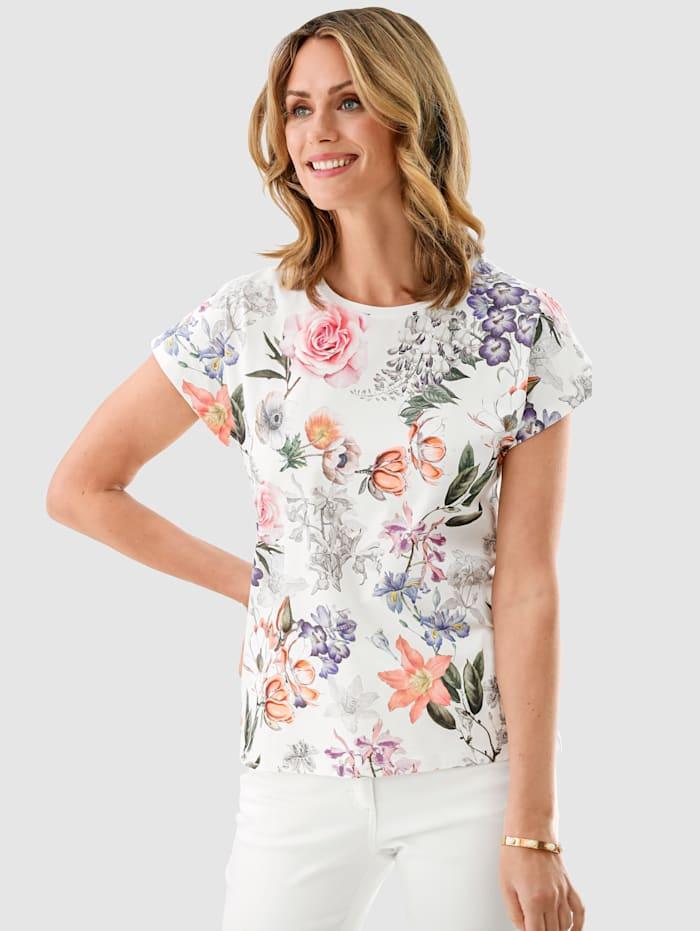 MONA Shirt van zuiver katoen, Ecru/Roze/Lavendel