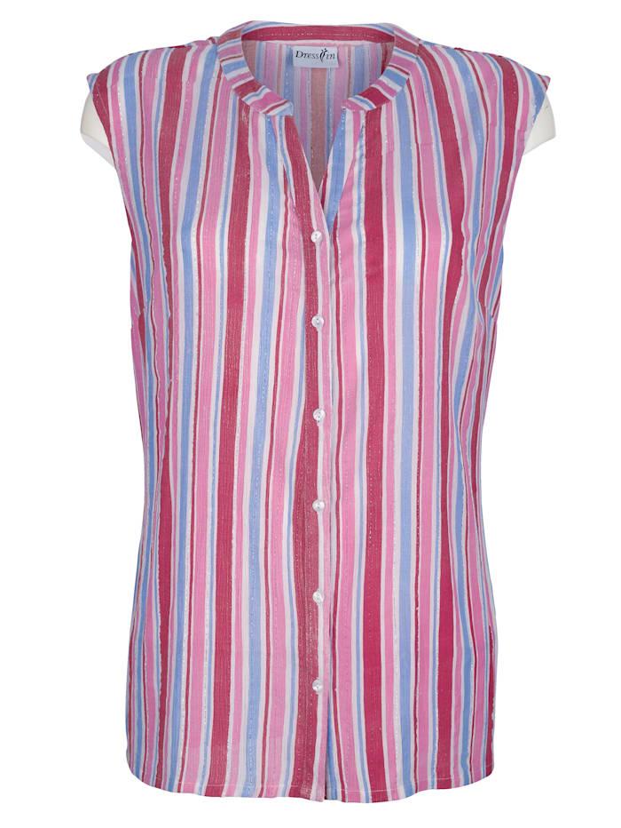 Dress In Bluse med stripemønster, Hvit/Blå/Pink