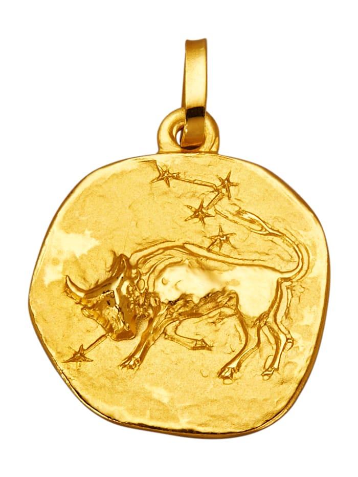 KLiNGEL Sternzeichen-Anhänger -Stier-, Gelbgoldfarben