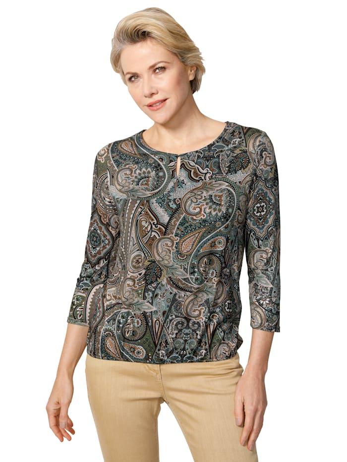 MONA Shirt met paisleydessin, Dennengroen/Beige/Petrol