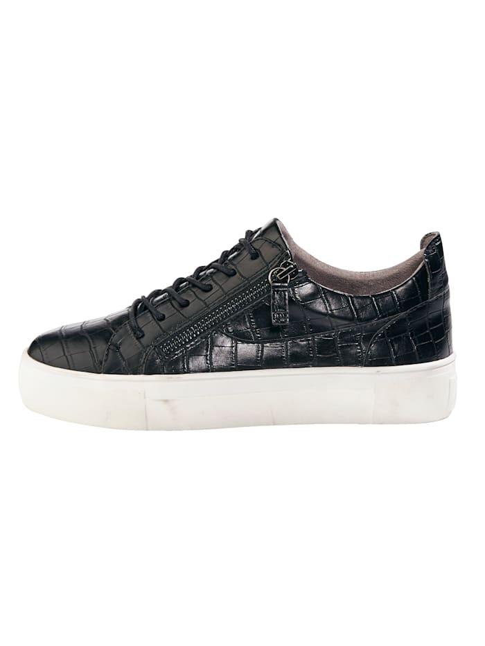 Sneakers à plateau d'aspect croco raffiné