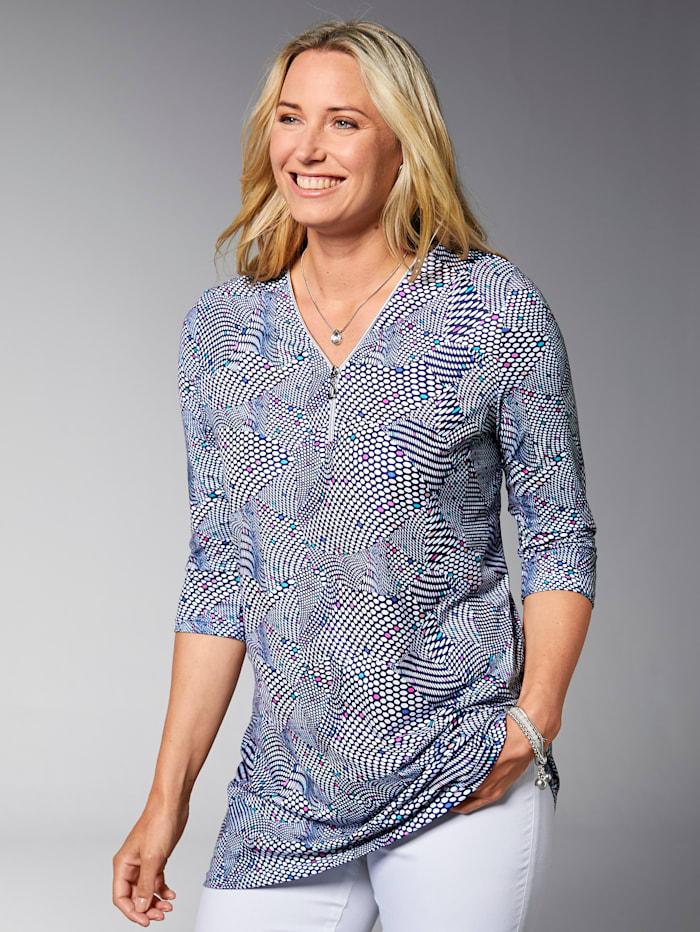 MIAMODA Longshirt mit Reißverschluss am Ausschnitt, Pink/Blau