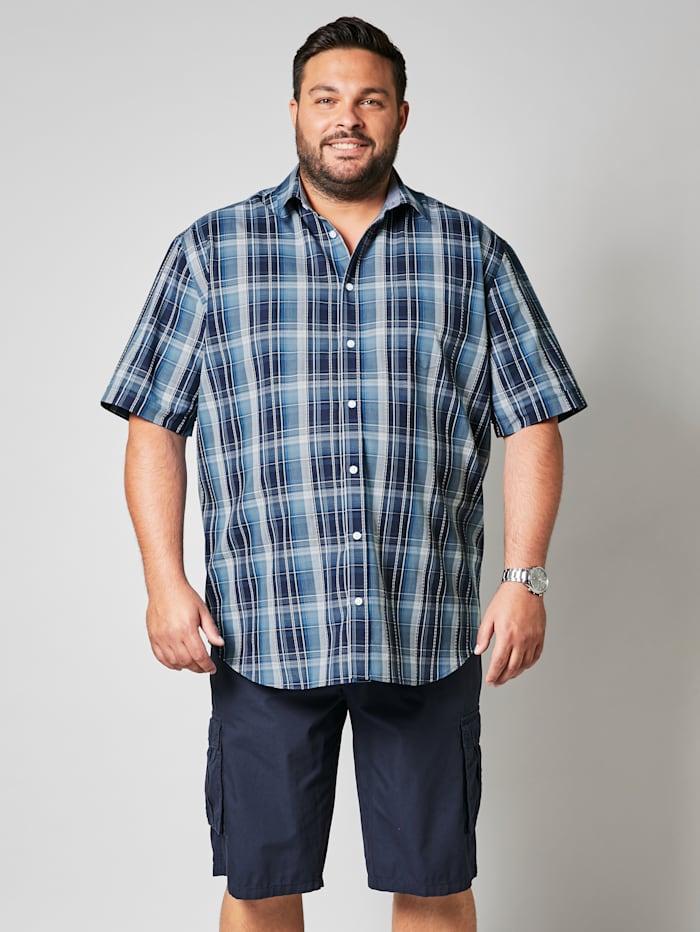 Men Plus Overhemd met ruitdessin, Wit/Marine/Blauw