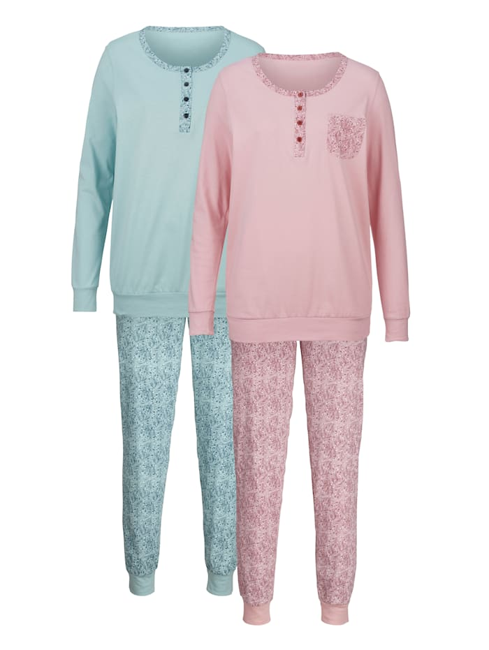 Harmony Schlafanzüge mit dekorativer Brusttasche, Rosé