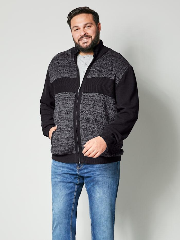 Men Plus Strickjacke aus reiner Baumwolle, Dunkelgrau/Schwarz