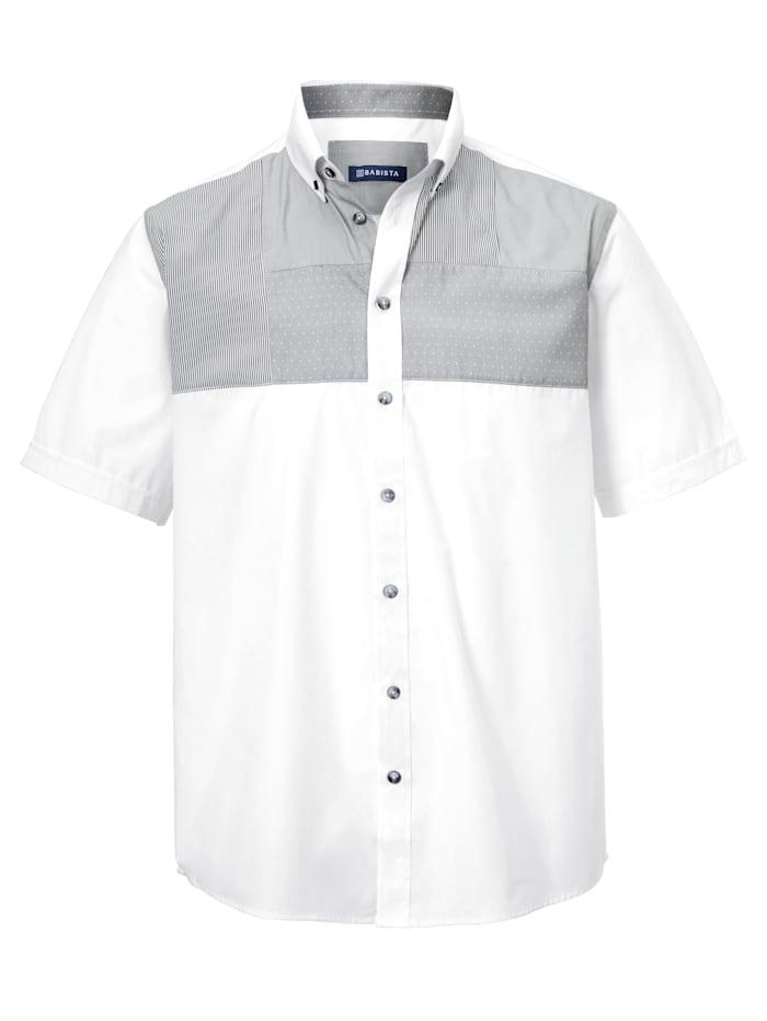 BABISTA Chemise d'aspect patchwork tendance, Blanc/Gris