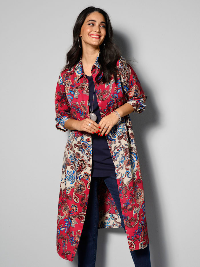 MIAMODA Longbluse mit Bindegürtel, Multicolor