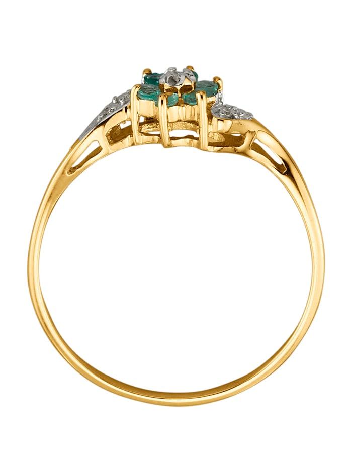 Damesring met smaragden en diamanten