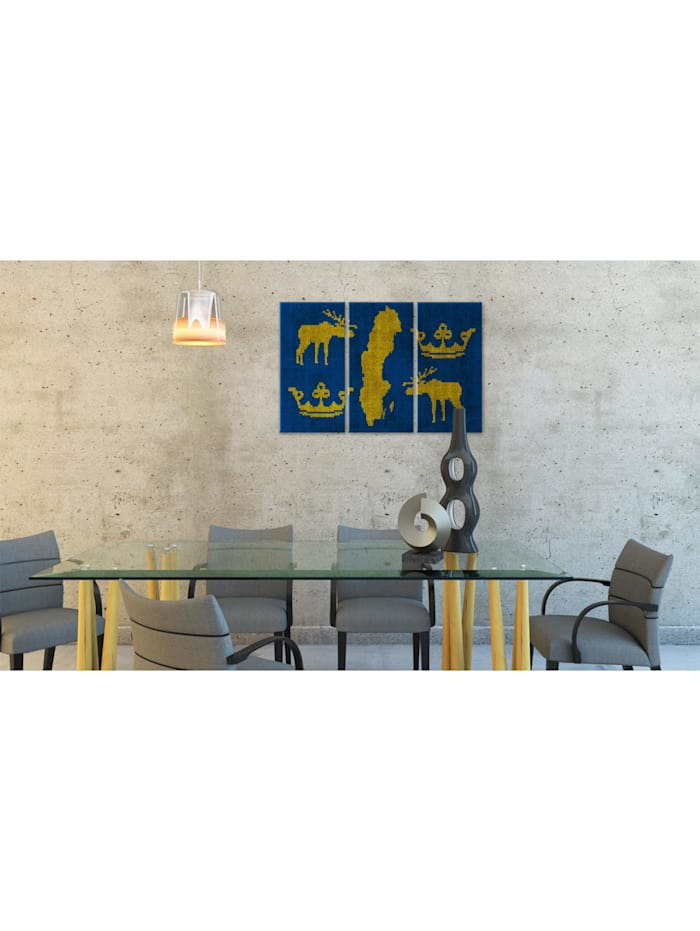 Wandbild Das Königreich Schweden - Triptychon