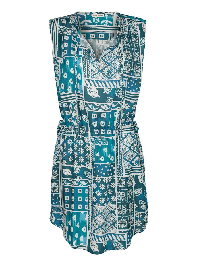 Alba Moda Strandkleid mit Bindeband, Blau-Türkis