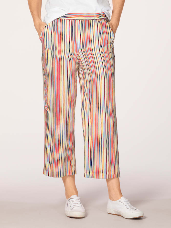 Pull-on trousers with elegant stripes