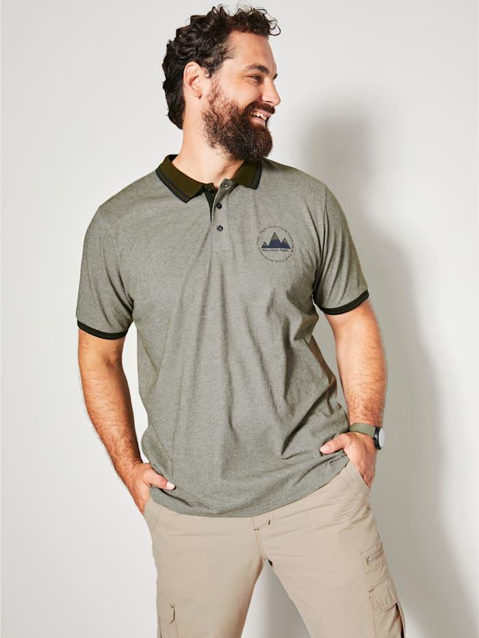Men Plus Poloshirt in melierter Optik, Oliv