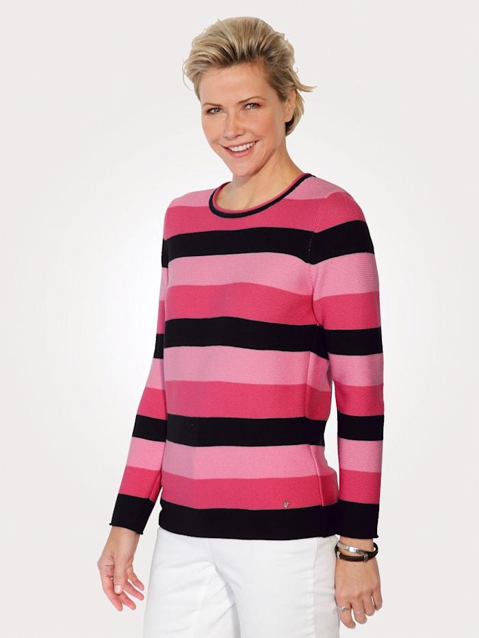 Rabe Pullover mit Ringel-Dessin, Schwarz/Pink