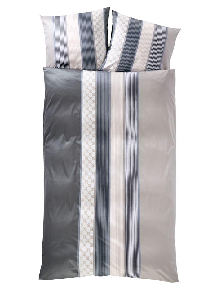 """JOOP! Parure de lit en satin de coton d'Égypte""""Cornflower Stripes"""", Gris"""