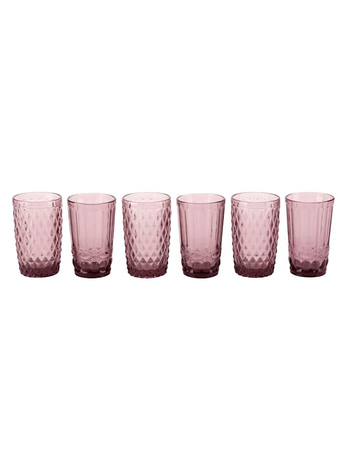 Boltze Glas-Set, 6 tlg., rosa