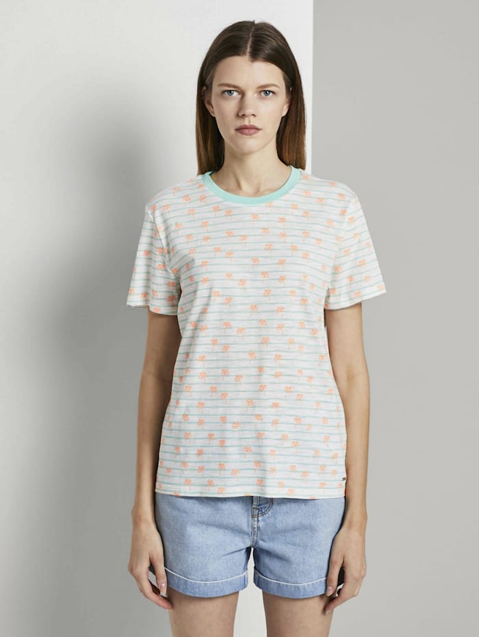 Tom Tailor Denim Lockeres T-Shirt mit buntem Print, mint white stripe with palms