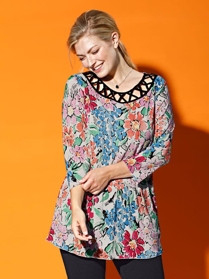 m. collection Plisséshirt met bloemenprint rondom, Multicolor