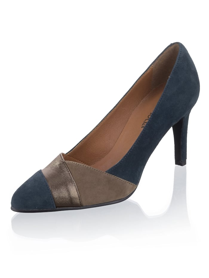 Pumps mti Spitze in Color Blocking