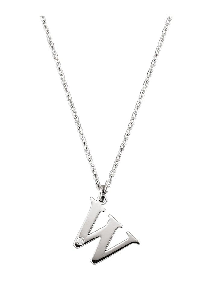 Collier Letter W met diamant, Zilverkleur