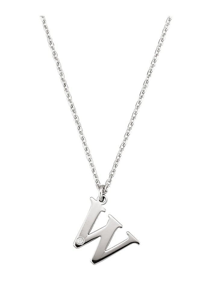 Pendentif Lettre W avec diamants, Coloris argent