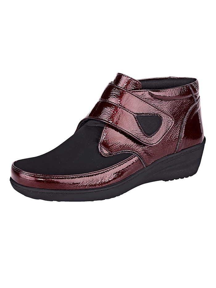 Gemini Velcro Ankle boots Stretchy material, Bordeaux