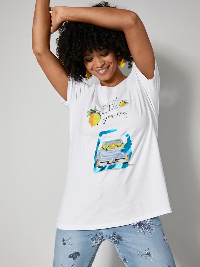 Angel of Style Shirt mit teilweise glänzendem Foliendruck, Weiß/Gelb/Blau