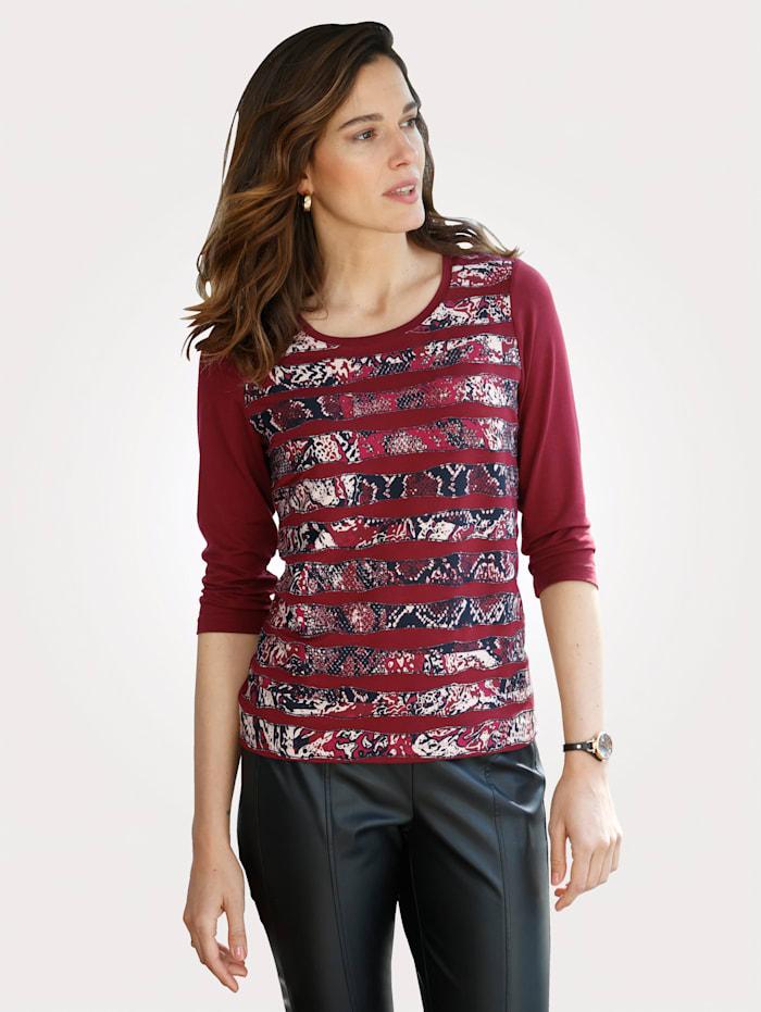 MONA Shirt mit aufgesteppten Zierbändern, Bordeaux/Schwarz