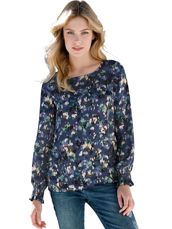 AMY VERMONT Bluse mit modisch buntem Druck, Marineblau/Multicolor