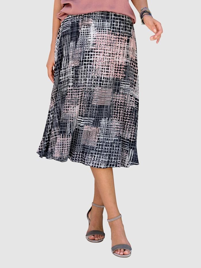 Alba Moda Sukně s grafickým vzorem, Přírodní bílá/Antracitová/Růžové dřevo