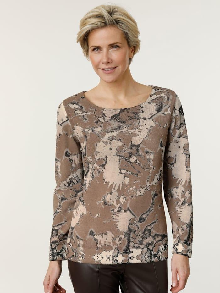MONA Pullover aus angenehmer Baumwolle, Hellbraun/Schwarz